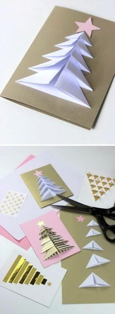Handmade Christmas Card Ideas Many peoples spend lots of time and resources to make or acquire unique gifts for family and friends. But, accompanying them with the usual generic card is an Incredible Ideas for Christmas card: Folded Christmas tre Christmas Tree Cards, Easy Christmas Crafts, Homemade Christmas, Christmas Projects, Christmas Gifts, Christmas Decorations, Christmas Ornaments, Christmas Cards Handmade Kids, Christmas Ideas