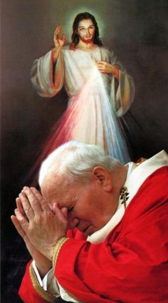 "Pope John Paul II: Last words written from his death bed on Divine Mercy ""As a gift to humanity, which sometimes seems bewildered and overwhelmed by the power of evil, selfishness, and fear, the Risen Lord offers His love that pardons, reconciles, and reopens hearts to love. It is love that converts hearts and gives peace. How much the world needs to understand and accept Divine Mercy! Lord, who reveal the Father's love by Your Death and Resurrection, we believe in You and confidently repeat…"