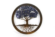 Tree of Life wall art Recycled repurposed blue glass Would
