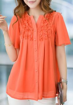 Fashionable Short Sleeve Ruffled Buttoned Blouse For Women Blouse Styles, Blouse Designs, Modest Fashion, Fashion Dresses, Elegant Outfit, Stylish Outfits, Blouses For Women, Fashion Tips, Fashion Trends