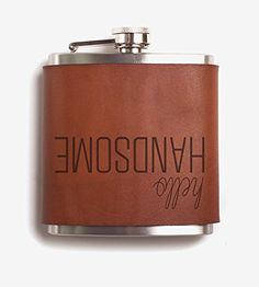 Scoutmob Home Hello Handsome Leather Wrapped Flask One Size