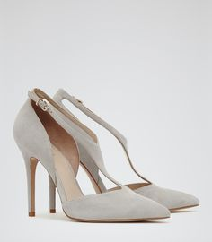 Womens Grey Strappy Suede Court Shoes - Reiss Kate