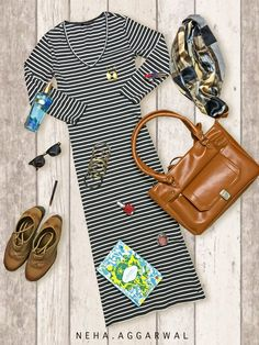 Black & White Striped Maxi Dress