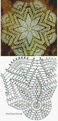 Crochet Stitches Chart, Crochet Doily Patterns, Bead Loom Patterns, Thread Crochet, Crochet Crafts, Crochet Doilies, Crochet Flowers, Crochet Lace, Crochet Projects