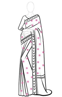This step-by-step tutorial will show you how to draw saree easy in your fashion design sketches. This saree drawing tutorial for beginners is easy and effective Dress Design Drawing, Dress Design Sketches, Fashion Design Sketchbook, Fashion Design Drawings, Fashion Sketches, Art Sketchbook, Clothes Design Drawing, Dress Drawing Easy, Fashion Drawing Tutorial