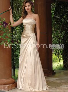 Elegant Sheath/Column Strapless Court Color Wedding Dresses