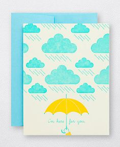 Cloudy Day - I'm Here For You letterpress card by Hello!Lucky