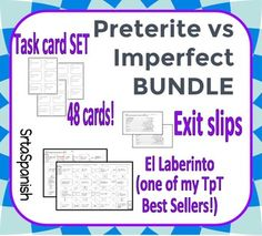 This bundle includes a variety of activities for your students to practice choosing when to use preterite or imperfect! This bundle includes some of my best sellers on TpT. Feel free to look at the individual products linked below for a closer look at what is included in this bundle.This bundle includes the following practices:Preterite vs Imperfect Task CardsPreterite vs Imperfect PracticePreterite vs Imperfect Spanish LaberintoHow to get TPT credit to use on future purchases: Please go to…