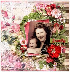 "My 2Crafty Chipboard June DT RevealA Touch of VintageCombined with a Challenge at Berry71Bleu Challenge Blog""Family"" - My Mum & Me"