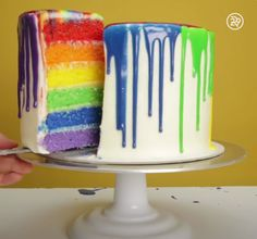 how to make a drip cake with rainbow layers