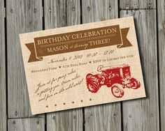 DIY Vintage Red Tractor Birthday Invitation DIGITAL by PapelLindo, $20.00