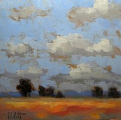 Impressionist Landscape Fields Clouds Oil Painting, painting by artist Heidi Malott