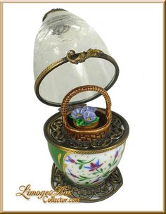 Etched Crystal Egg Limoges Box w Basket of Flowers Retired.