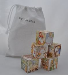 Wood Block Toy or Decor  Peter Rabbit  Set of 5 by HollyLicari, $24.50