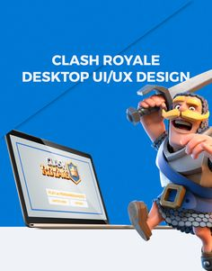 A UI/UX concept design for a desktop version of Clash Royale, a game by Supercell.
