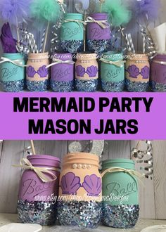 Mermaid mason jars in purple and teal colors perfect for a little mermaid party. These jars can be used as party favors or decorations for your birthday party. Such a great party idea and so pretty! #mermaid #littlemermaid #mermaidparty #partydecorations #partyfavors #ad