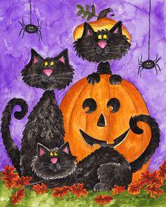 Three Black Cats by Sara Mullen