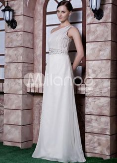 Ivory Chiffon Beading One Shoulder Floor Length Prom Dress. Simply designed dresses can make a dramatic first impression �like this one. It features a one shoulder toga-inspired bodice with a lovely pleated texture. An asymmetrical band adorns the midsection and features intricate be.. . See More One Shoulder at http://www.ourgreatshop.com/One-Shoulder-C935.aspx