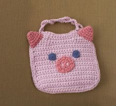 Piglet Bib - Free Crochet Pattern - See http://www.ravelry.com/patterns/library/piglet-bib For Additional Projects - (joann.lionbrand)