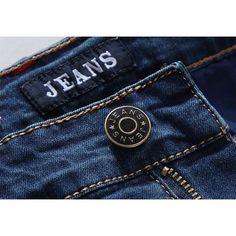 Plus Size Casual Business Denim Cotton High Elastic Straight Leg Jeans for Men