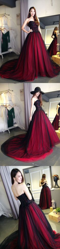 Burgundy lace tulle long prom dress, lace evening dress