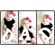 cute Fathers Day idea! Of you have more than one kid, let each hold a letter! Dad Father Dada Papa Poppa or Add hearts! If you are pregnant, one letter can be on moms belly! Would be a cute announcement idea!
