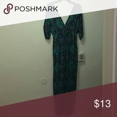 MAXI DRESS GREEN BLACK AND PURPLE AS YOU SEE AT THE PICTURE WORN ONES FITS 1XL . ELLA SAMANI Dresses Maxi