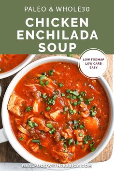 This Paleo Whole30 Chicken Enchilada Soup is easy to make and is so delicious! It's gluten free, dairy free, and low FODMAP. #paleo #glutenfree #dairyfree #lowfodmap #healthy | realfoodwithjessica.com via @realfoodwithjessica