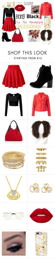 """""""Black Blessings"""" by mistress-sapphire ❤ liked on Polyvore featuring Ollio, Miss Selfridge, Lanvin, Apt. 9, Luv Aj, Pippa Small, Gucci, Lime Crime, Casetify and leatherjackets"""