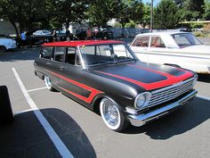 1964 chevy II wagon with wide scallops, chrome spiders, and wide whites; It's more of a look but it works! Car Pictures, Car Pics, Chevy Nova, Kustom Kulture, American Muscle Cars, Station Wagon, My Ride, Paint Designs, Chevy Trucks
