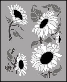 Click to see the actual TP40 - Sunflowers stencil design.