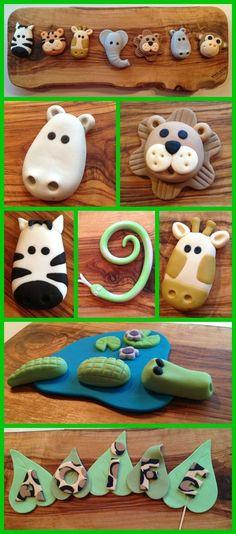 Instrucciones para modelado de animales de la selva: hipopótamo, león, cebra, culebra, jirafa, cocodrilo y letras de leopardo // would be nice in clay too Jungle fondant cake toppers