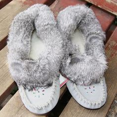 Womens Gray Genuine Suede Leather Soft Sole Authentic Moccasins - 240 Clothing, Shoes & Jewelry - Women - women's slippers - http://amzn.to/2kQT8El
