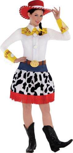 Adult Jessie Costume Deluxe features a dress with oversized buttons and a denim and cow-print skirt. Toy Story Jessie costume also includes a pull ring, hair bow, and more. Jessie Toy Story Costume, Jessie Costumes, Toy Story Costumes, Movie Halloween Costumes, Disney Costumes, Adult Costumes, Costumes For Women, Halloween Ideas, Toy Story Party