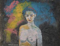Mujer con pañuelo : Tecnica Mixta 90 x 90