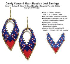 Candy Canes & Heart Russian Leaf Earrings | Bead-Patterns.com
