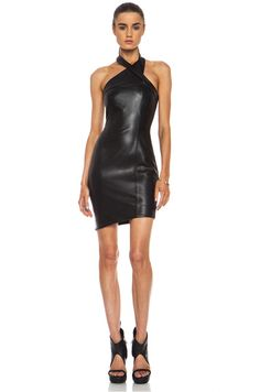 NICHOLAS|Wrap Neck Leather Dress in Black