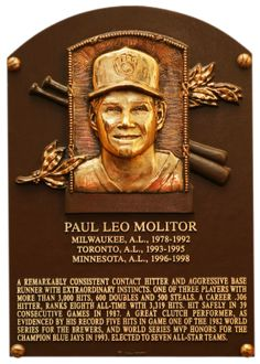Paul Molitor, Hall of Fame Plaque (Elected 2004)