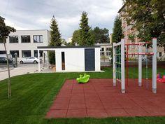 Garden house in front of playground Playground, Gazebo, Garage Doors, Home And Garden, Outdoor Decor, House, Home Decor, Children Playground, Kiosk