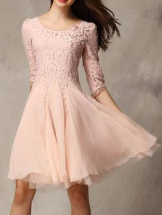 Pink Half Sleeve Lace Bead Chiffon Dress - sweet for a spring bridesmaid, and I love that it isn't strapless