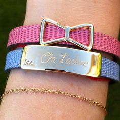 Yes, I adore you..... and your bracelet :)  #lilou #love #jadore #bracelet #leather #plate #ribbon #pink #blue