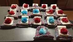 I made these as party favors for my daughter's 9th birthday party at an ice skating rink.   It was PERFECT!!! The scarves and hats helped keep the kids warmer and I also gave each child a cream color pair of gloves. It was also easy to spot the kiddos associated with the party!