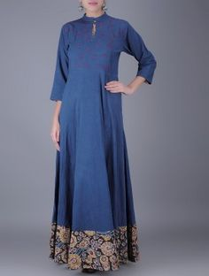 Indigo Embroidered Natural Dyed Kalamkari Flared Cotton Maxi Dress