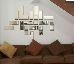 Mirror Wall Design, House Design, Staircase Design, Living Room Decor, Wall Decor, Interior Design, Home Decor, Mirror Art, Art Deco