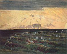 Adoration of the Sun.1909 by Mikalojus Ciurlionis