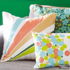 Use colorful paints to transform plain-Jane pillow covers.