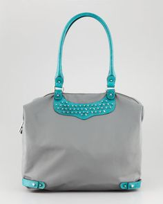 Studded Travel Tote Bag, Turquoise by Rebecca Minkof