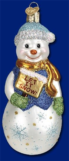 Glistening Let It Snow,  Old World Christmas Glass Ornaments