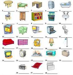 Coloque os nomes dos 28 objetos da casa