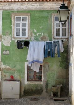 lovely weathering and distressing in green and cream ////rustic Laundry Lines, Laundry Art, Laundry Drying, Doing Laundry, Laundry Room, Vintage Laundry, Through The Looking Glass, Wabi Sabi, Windows And Doors